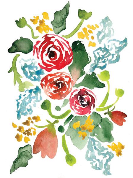 Red Floral Array I