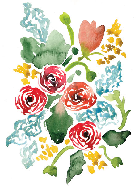 Red Floral Array II