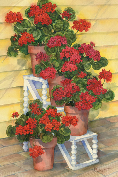 Spindle Shelf Geraniums