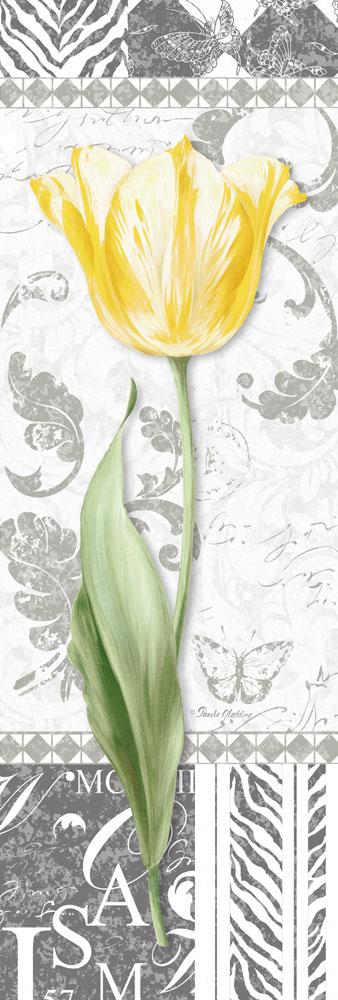Damask Gray Tulip Panel II