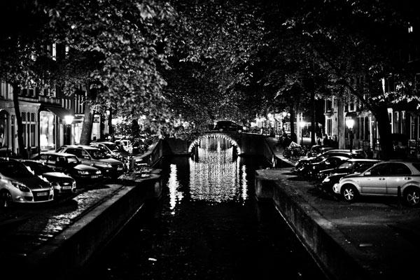 B&W Canal at Night I